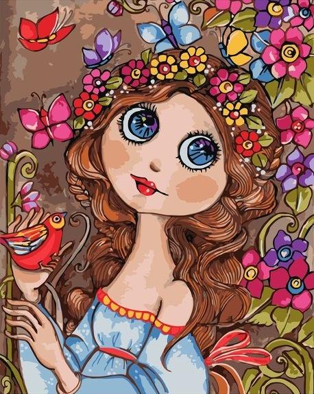 Картина по номерам 40x50 Девица с птицей и цветами